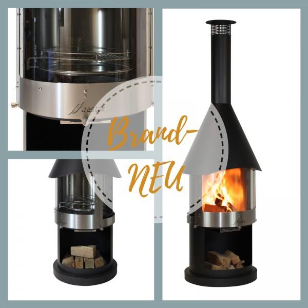 Edelstahl Grillkamin Firestar DN700 Swing Glas