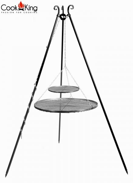 Schwenkgrill 180 cm mit Doppel-Grillrost aus Rohstahl Ø 40cm + Ø 70cm